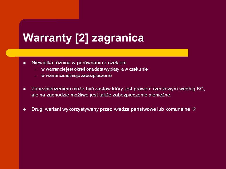 Warranty [2] zagranica Niewielka różnica w porównaniu z czekiem
